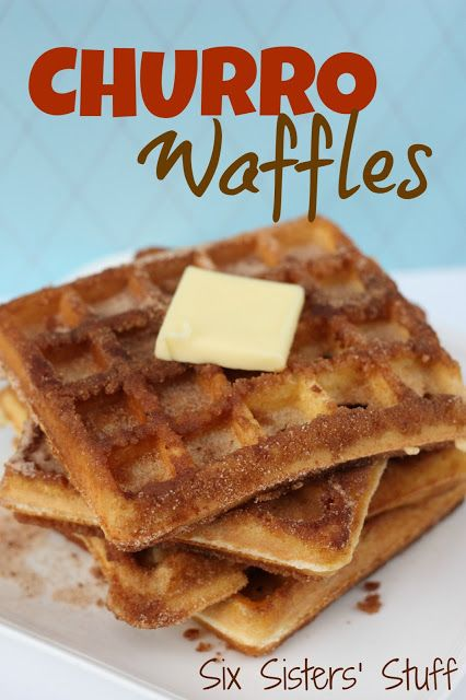 Churro Waffles- seriously one of the most delicious breakfasts I have had. They make a yummy dessert too! SixSistersStuff.com #breakfast