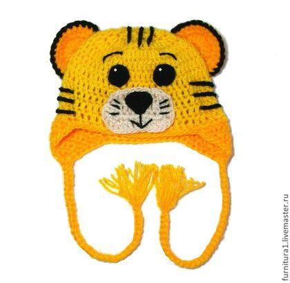 """Шапки и шарфы ручной работы. Ярмарка Мастеров - ручная работа. Купить Детская шапочка """"Тигр"""" (шапка тигренок желтый теплая зимняя с ушками). Handmade."""