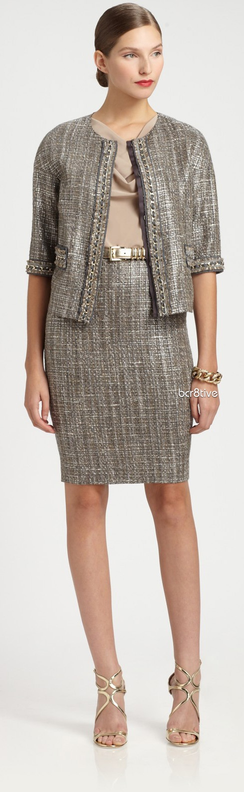 St. John Metallic Tweed Skirt on Sax 5th Avenue