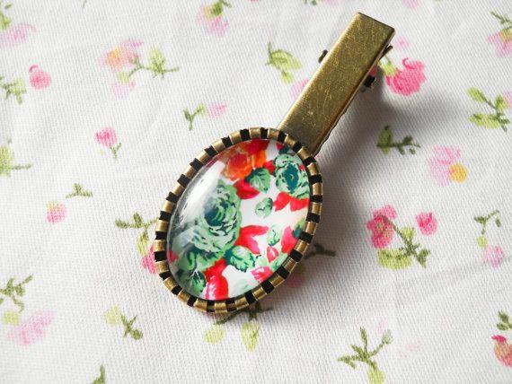 Vintage Flower Hair Clip, Vintage Floral, Antique Bronze Hair Clip, Pretty Hair Clip, Cute Hair Clip, Gift for Women, Vintage Roses