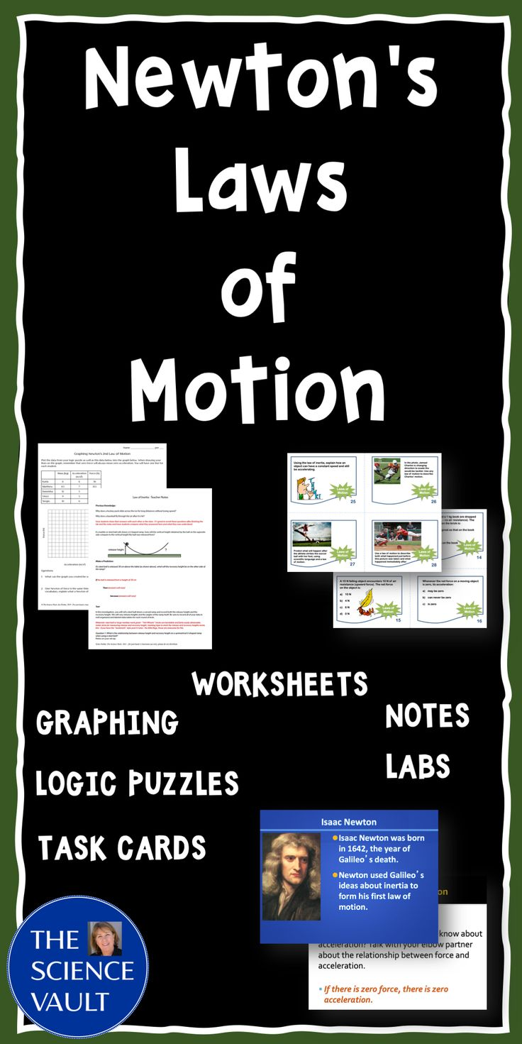 Newton's Laws of Motion Task Cards, Worksheets, Game