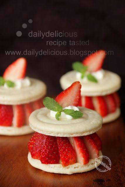 dailydelicious: Amour de fraise: Macaron with Tea infused Crème Brûlée and fresh strawberry