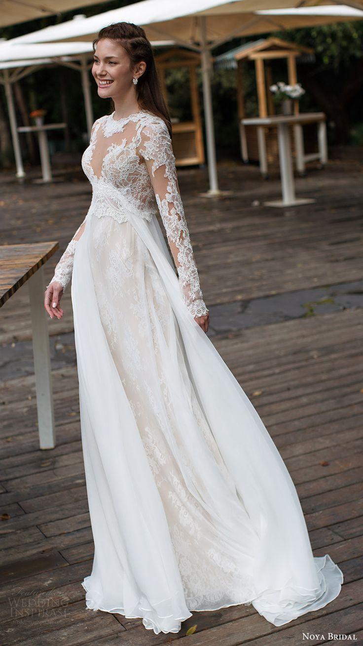"noya bridal 2016 3 long sleeves sweetheart illusion jewel neck trumpet sheath lace wedding dress (1208) mv overskirt train romantic -- Noya Bridal ""Aria"" Collection Wedding Dresses #romantic #bride #weddingdress"