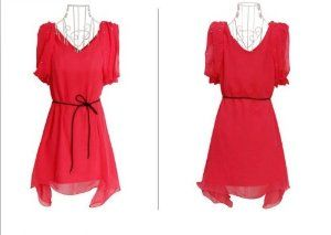 2013 New Womens Red Empire Waist Sleeveless Tunic Mini Short Dress Belt (L)