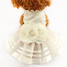 Loja Armi Pérola Flor Adorno Vestidos Para Cães 6073008 Pet Saia Cão Vestido de Casamento Suprimentos Traje XS, S, M, L, XL alishoppbrasil