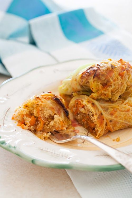 Russian Monday: Vegetarian Stuffed Cabbage Rolls with Quinoa, Onions & Carrots (gluten & dairy free)