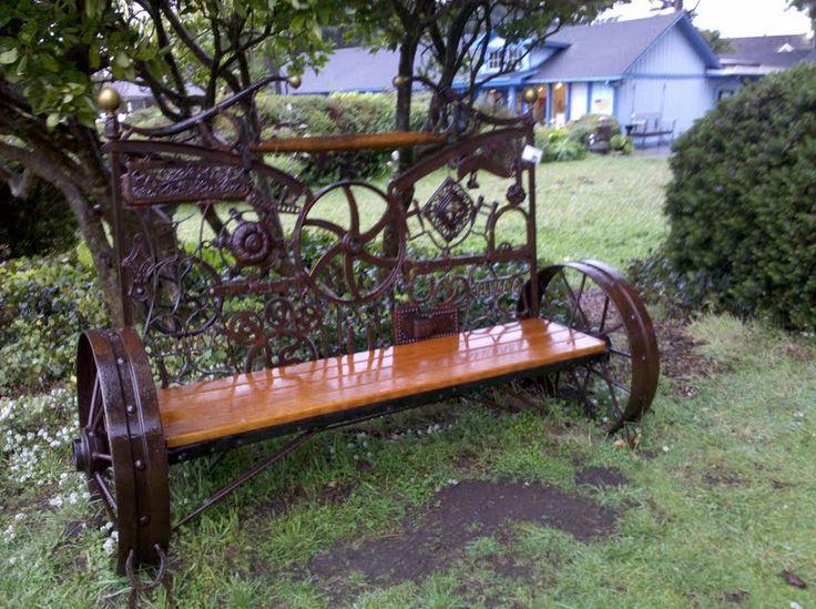 Upcycled scrap metal bench, Mendocino Art Center.