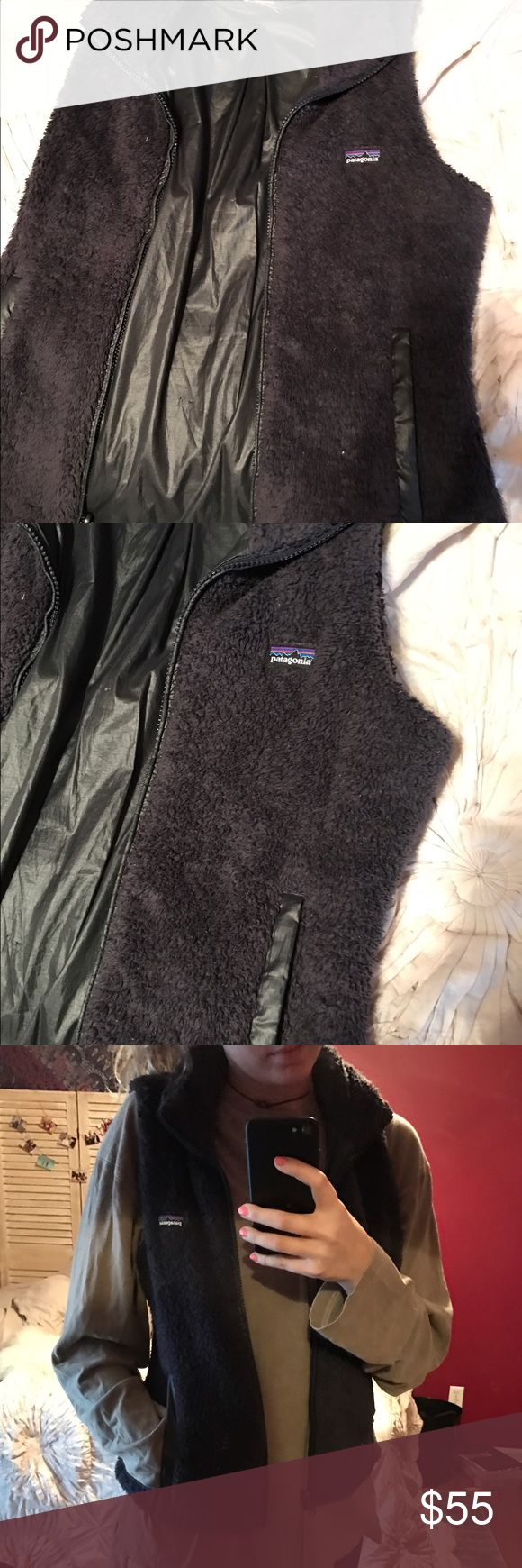 Purple Patagonia Vest Really warm Purple Patagonia Vest, size small! I recently removed the tag because it was barely holding on. Can be reversibly worn because there is another logo on the inside. Patagonia Jackets & Coats Vests
