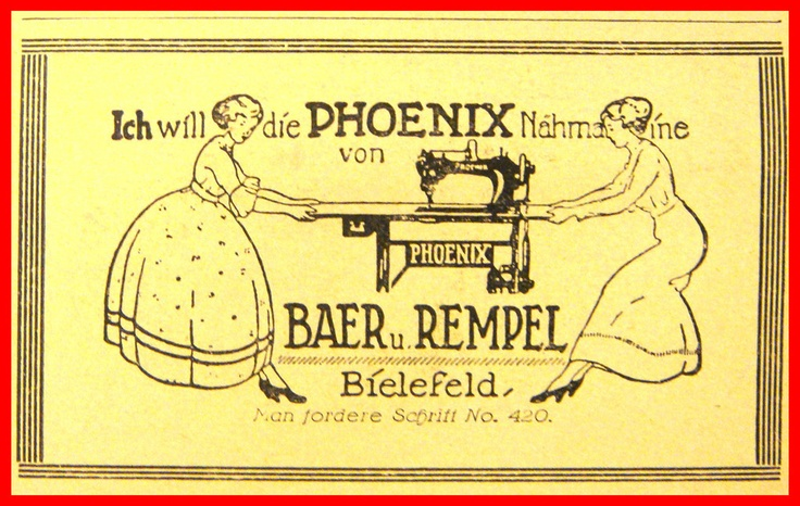"PHOENIX SEWING MACHINE - Original Vintage Magazine AD ""Die Woche"" April 1928. Made in Germany , Baer & Rempel - Bielefeld"
