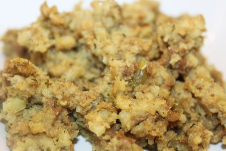 Making classic bread stuffing reminds me of my childhood Thanksgiving meals.