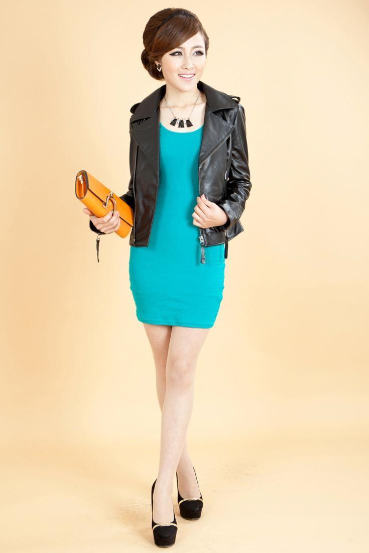 Hot Sale Fashion Women Genuine Sheepskin Leather Jackets O-Neck Oblique  Zipper Desigual Slim Short