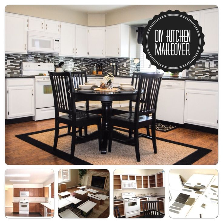 DIY Kitchen Makeover. Black, white, grey and tan kitchen. Paint Your Cabinets White. Marlowe-lane.com