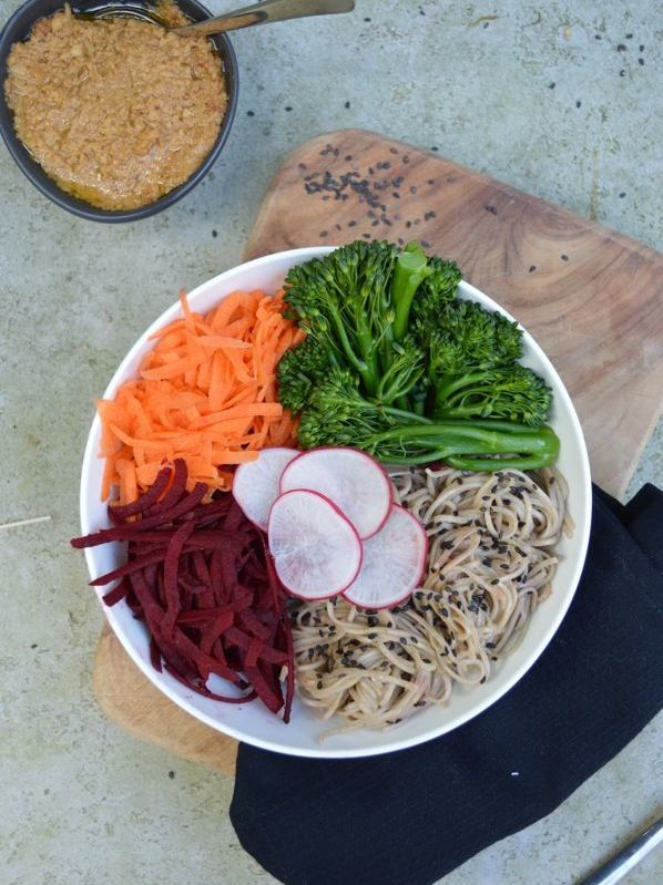 Winter bowl with soba noodles and miso dressing http://www.thoughtfuleater.org/?p=1813