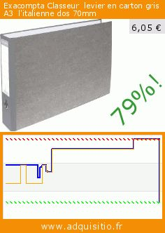 Exacompta Classeur  levier en carton gris A3  l'italienne dos 70mm (Fournitures de bureau). Réduction de 79%! Prix actuel 6,05 €, l'ancien prix était de 28,38 €. http://www.adquisitio.fr/exacompta/classeur-levier-carton