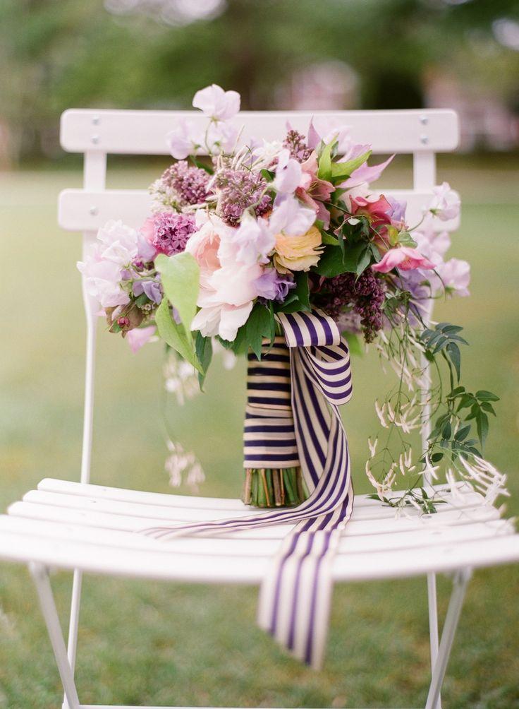 bouquet w/ striped ribbon