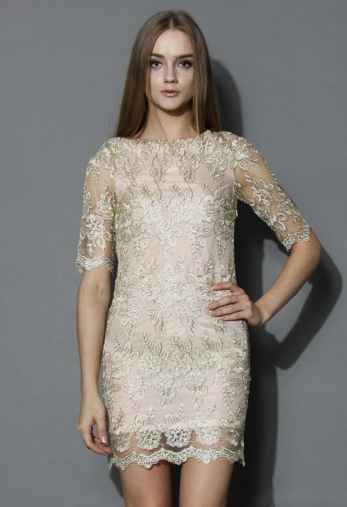 Golden Lace Embroidered Body-con Dress - Floral - Dress - Retro, Indie and Unique Fashion