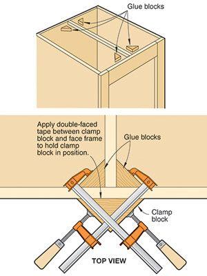 Stick glue blocks in position