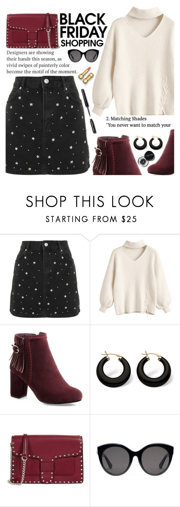 """""""Untitled #2822"""" by anarita11 ❤ liked on Polyvore featuring Topshop, Palm Beach Jewelry, Bobbi Brown Cosmetics, Rebecca Minkoff and Gucci"""
