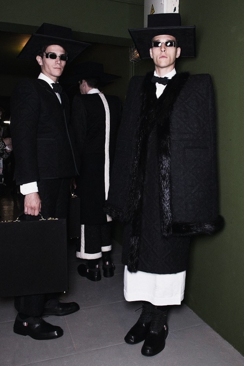 Backstage at Thom Browne Fall 2013