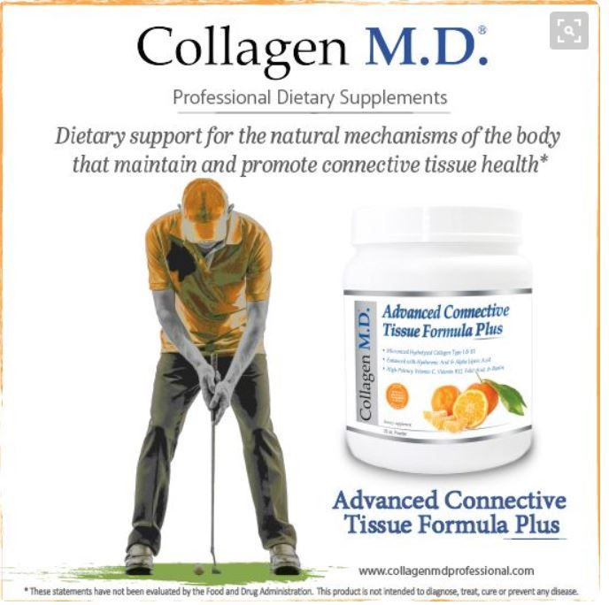 Professional-strength Advanced Connective Tissue Formula PLUS supplement by Collagen M.D.® -12,000 mg micronized, hydrolyzed Collagen Type I & III (beef), 200 mg dietary Hyaluronic Acid, 50.5 mg Alpha-Lipoic Acid, Vitamin C, Vitamin B12, Biotin, Folic Acid & natural tangerine juice powder for a delicious, nutrient-dense drink. Amino acid-rich support for the natural mechanisms of the body that promote connective tissue health* #Glutenfree #Dairyfree #CollagenMD #SportsNutrition #golftips…