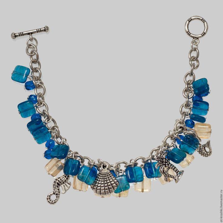 """Купить Браслет """"Море и песок"""" - браслет, браслет из бусин, браслет с подвесками, авторские украшения"""
