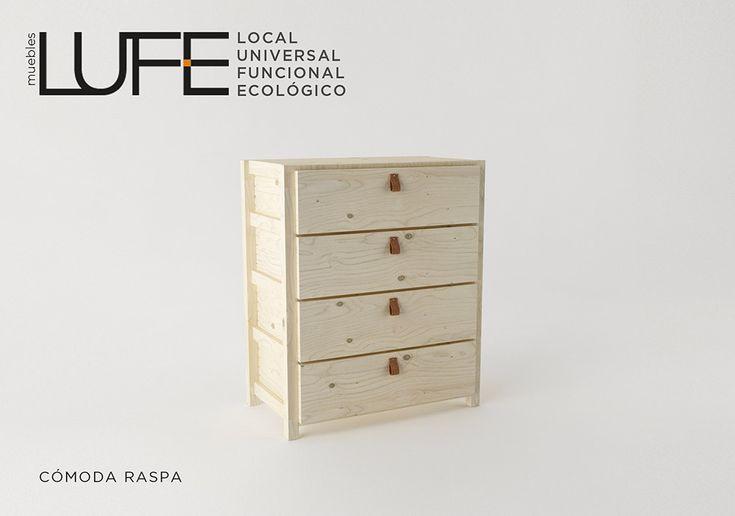 La Cómoda Raspa LUFE, de líneas sencillas y limpias que combina bien con todo tipo de decoración y  muebles. #MueblesLUFE #comoda #cajonera #dormitorio #madera