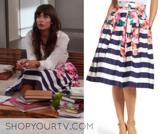 """Tahani Al-Jamil (Jameela Jamil) wears this striped flared floral printed skirt in this episode of The Good Place, """"Dance Dance Revolution"""". It is the Eliza J Floral Stripe Midi Skirt."""