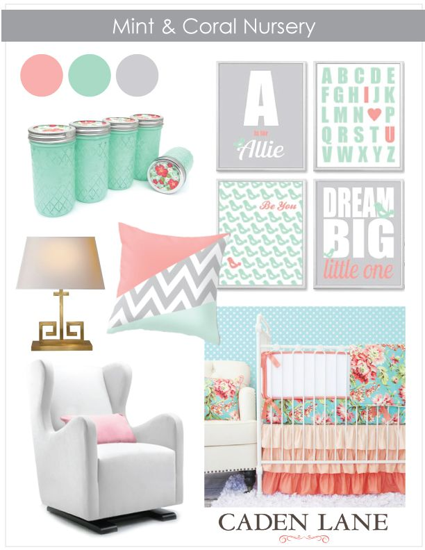 Crib Bedding: Mint and Coral Trending ‹ Caden LaneCaden Lane - which would you pick, gray or gold as an accent color?