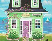 Chalet confortable Quilt Shop Folk Art Print