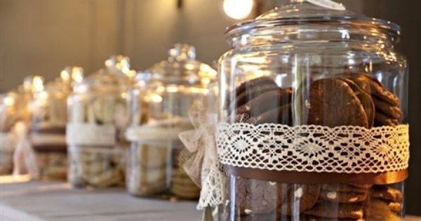 Of course I had to have a cookie bar for my cookie monster <3 Jars like this with lace around and tons of cookies and biscotti.   Vintage   Pinterest   Jars, L…