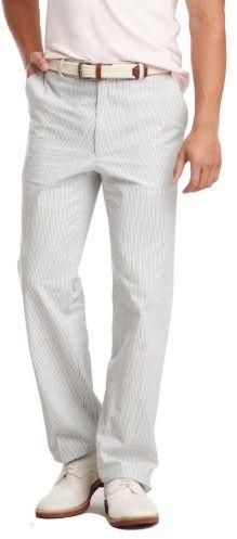 Tommy Hilfiger Mens Hall Cotton Seersucker Navy White Pants 33 x 32 Flat Front