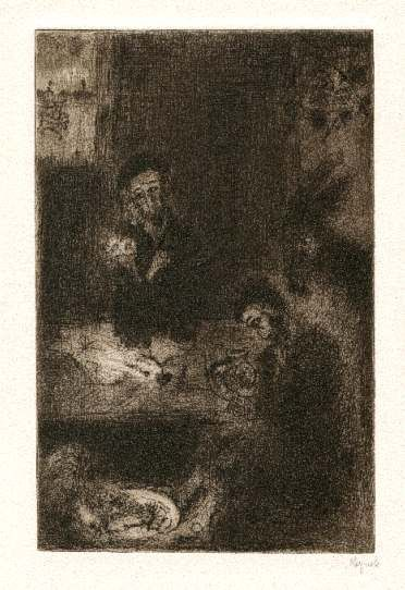 Bohuslav Reynek Don Quijote v hospodě / Don Quijote in the Pub suchá jehla / dry point 24,6 x 16,2 cm, 1955-56, opus G 406