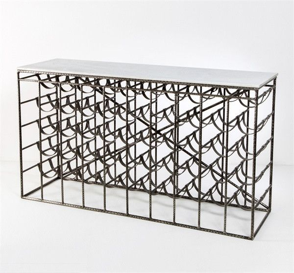 Interlude Caymus Wine Console. The Caymus Wine Console pairs an industrial-chic base of iron and leather with a lustrous marble top to deliver a piece as functional as it is fabulous. – Modish Store