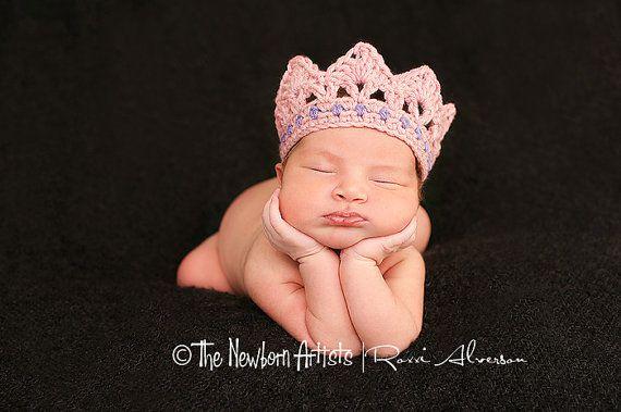 Newborn 'jeweled' crown -PDF digital crochet pattern on Etsy, $3.99