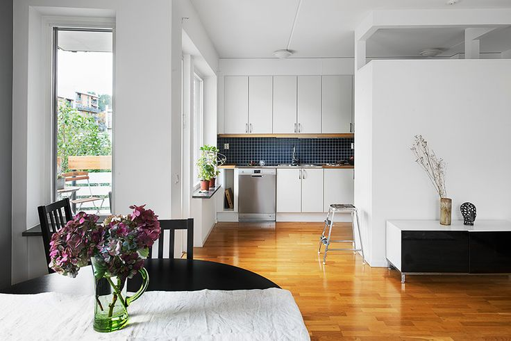 Glossy hardwood floor, white walls and cabinets