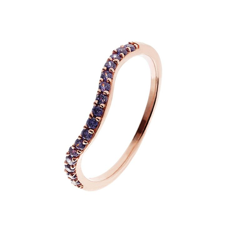 Oxette Rose Gold Silver 925 Ring with zircons - Available here http://www.oxette.gr/kosmimata/daktulidia/ster.silver-rose-gold-pl.ring-purple-cz-631l-1/    #oxette #OXETTEring #jewellery