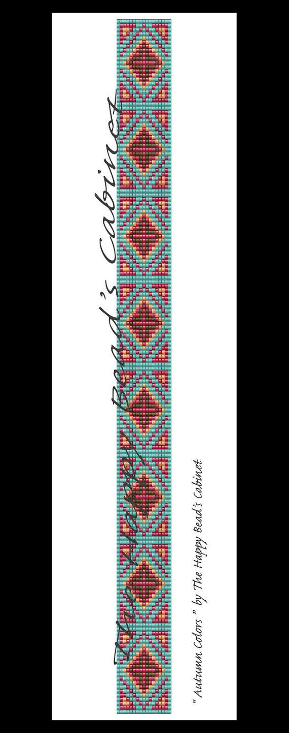 "Beaded hat band, head band, loom, peyote pattern "" Autumn Colors "" INSTANT PDF , Digital download , bracelet, home decor, bag, handbag"