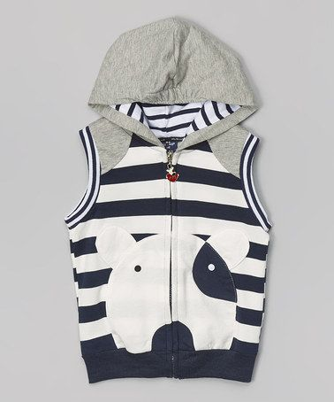 Look at this #zulilyfind! Navy & Gray Stripe Dog Hooded Vest - Toddler & Kids #zulilyfinds