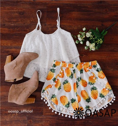 Summer Pineapple Print Tulip Shorts here!