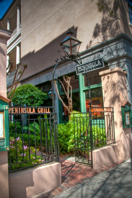 The courtyard entrance to Peninsula Grill in Charleston, South Carolina