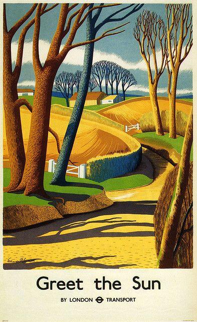 Greet the sun - vintage London Transport travel poster by Edward Purser Lancaster (1939)
