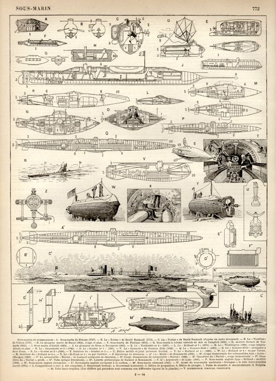1897 Submarine Designs Antique Print Vintage by Craftissimo