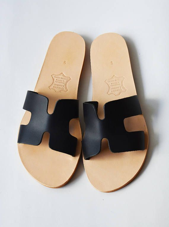 Black Leather Slide Sandals Black Slip on Sandals Black H