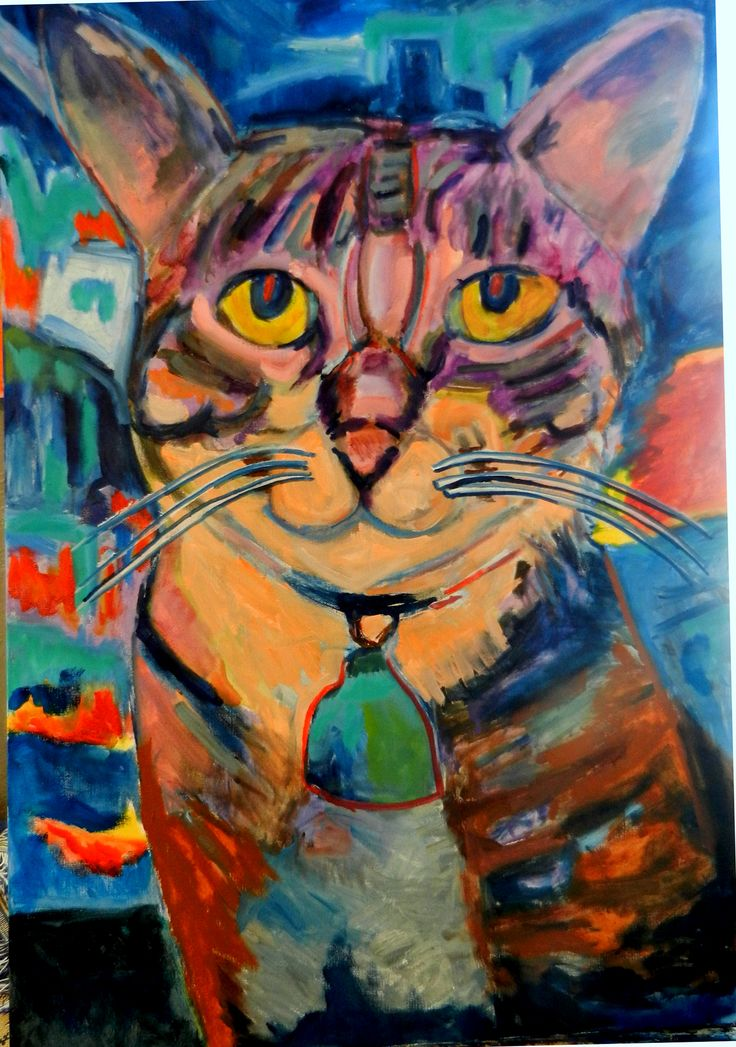 Rocket cat in front of a painting--Jim Jacobi--OIL--2016