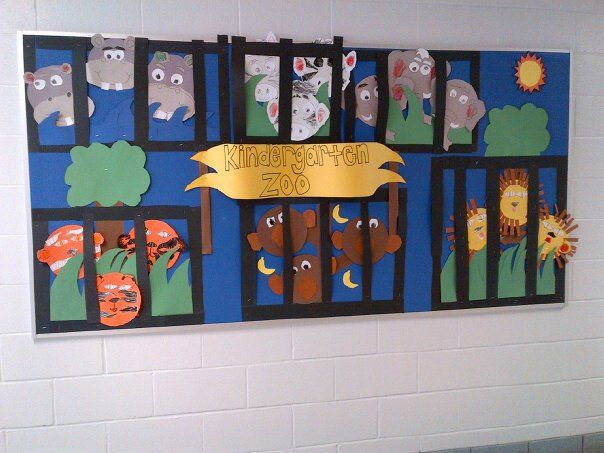 Kindergarten Zoo Bulletin Board. I would use this activity to connect art and science together. Students in my placement are learning about the zoo, and this would be a great activity to get students involved with the zoo education and making it fun by crafting their own zoo!!