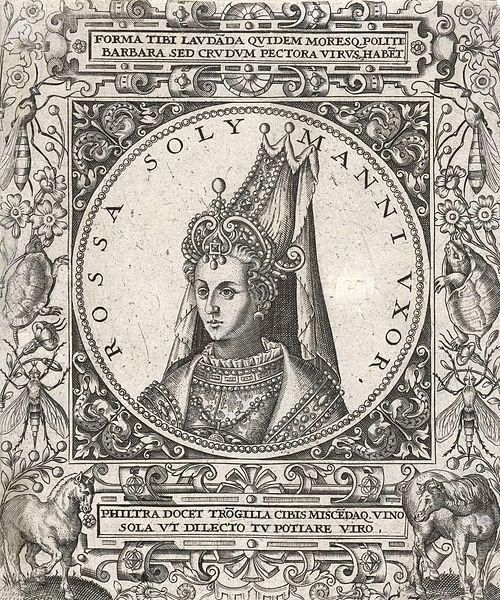 Sultan Roxelana.Johann Theodor de Bry tarafından yapılmış bir Hürrem Sultan garavürü, 1596.