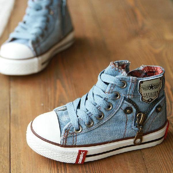 Kids' Denim Jeans Zipper Sneakers