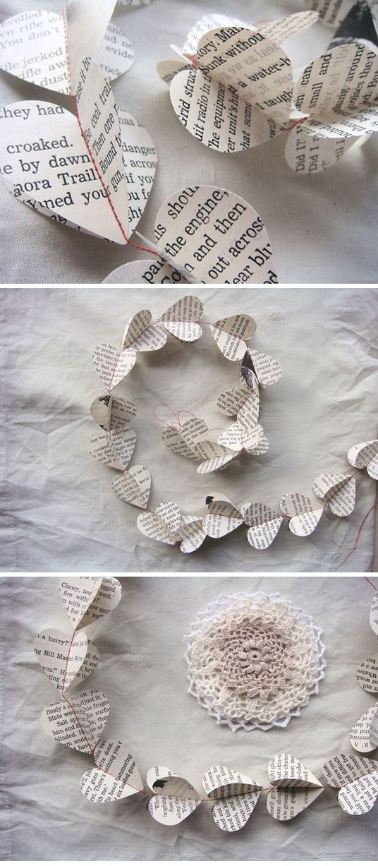 Book page heart garland. This is sweet. Looking to use book pages for some elements. Charity shop / car boot books.
