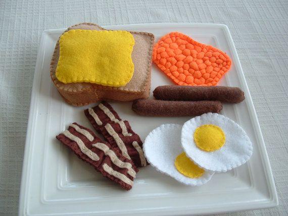 Felt Food  Breakfast  Toast Baked Beans Sausages by lisajhoney, $30.00