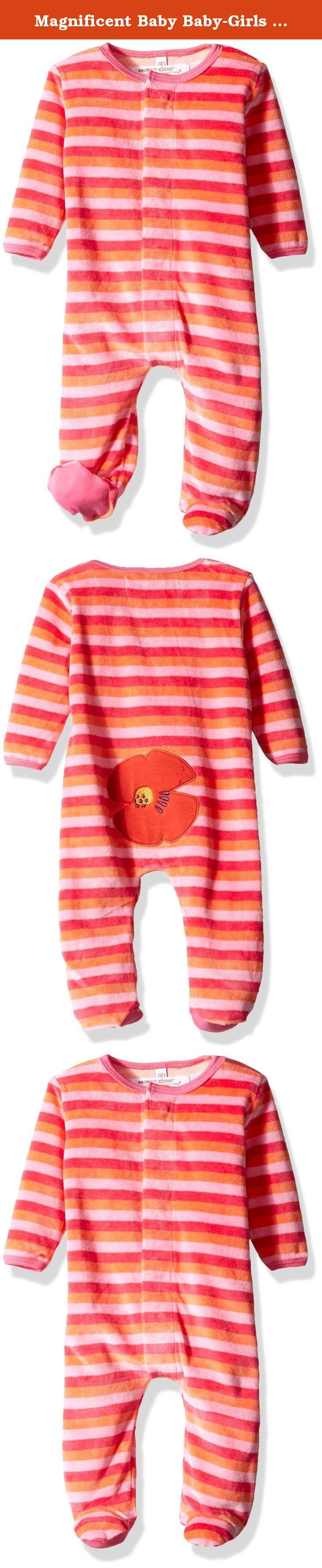 Magnificent Baby Baby-Girls Poppie Stripe Velour Footie with Applique, Poppies Stripes, New Born. Our footie just got warmer. Velour footie, featuring our time saving smart close magnetic fasteners, gets baby dressed faster than Clark Kent turns into superman. No longer dread changing time - simply open outfit, insert baby and the outfit practically dresses itself. Ultra-soft velour is perfect for even the chilliest days.